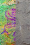decorrelation stretched image of rock painting at Yal Ib'ach, Guatemala